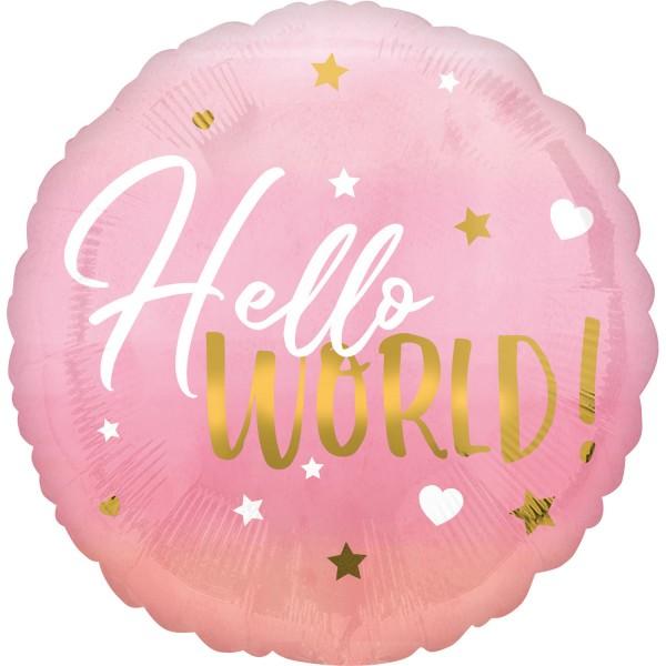 Ballon aluminium Hello World rose 45cm