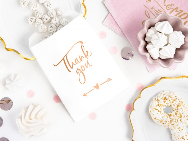 6 Thank you gift bags rose gold