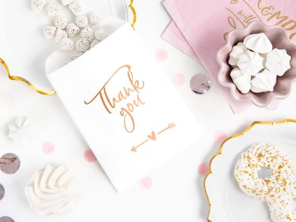 6 bolsas de regalo de agradecimiento en oro rosa