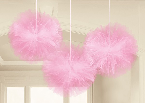 Tulle decorative balls Happy End pink 30.4cm