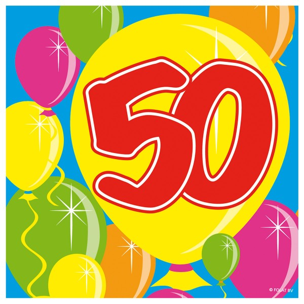 20 Spectacular 50th Birthday napkins 25cm