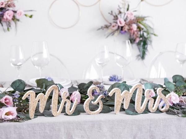 Mr & Mrs Deko Schriftzug gold 50 x 10cm