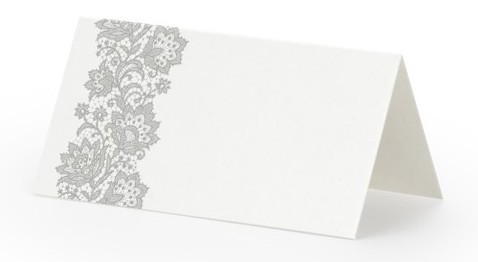 25 place cards with silver ornaments