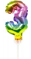 Regenbogen Tortendeko Ballon Zahl 3