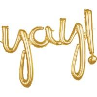 Goldener Yay Schriftzug 88 x 63cm