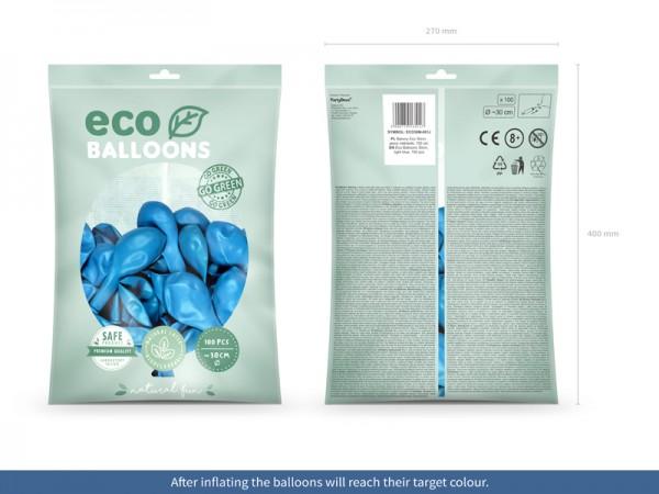 100 globos metálicos Eco azul bebé 30cm