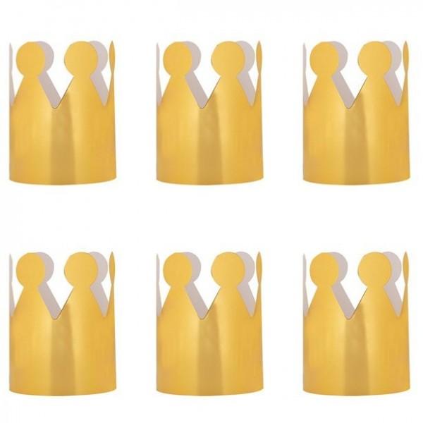 6 Goldene Partykronen für Mädchen