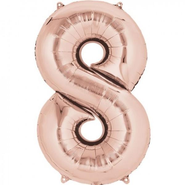 Globo laminado numero 8 oro rosa 41cm