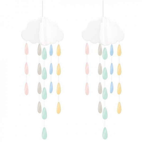 2 cloud mobiles with drops