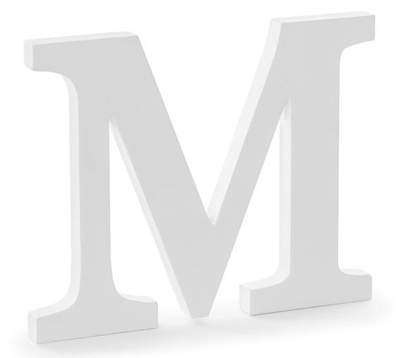 Letra de madera M blanca 25 x 20cm