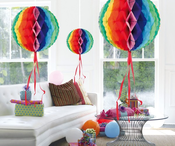 3 Regenbogen Wabenbälle 30cm 1