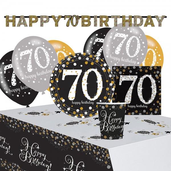 Golden 70th Birthday Deko Set 41-teilig