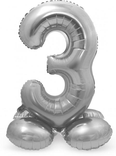 AirLoonz Zahl 3 Ballon silber 72cm