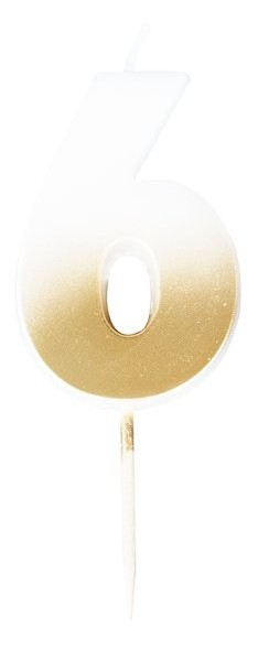 Zahl 6 Tortenkerze ombre gold