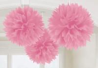 3 Fluffy Pompons Rosa 40,6cm