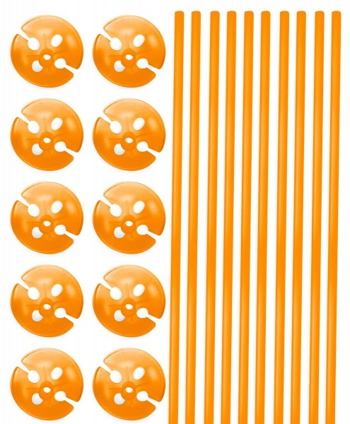10 balloon sticks & cups in orange