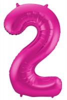 Folienballon Nummer 2 pink