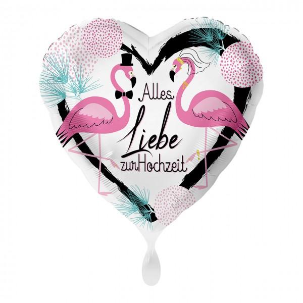 Balon foliowy serce wesele flamingo 43cm