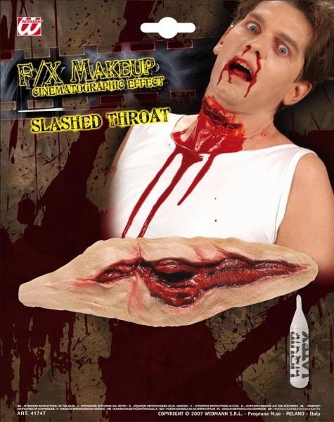 Halloween horror keel doorgesneden kunstmatig litteken voor bloederige steken