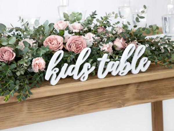 Kids Table Deko Schriftzug weiß 38 x 10cm