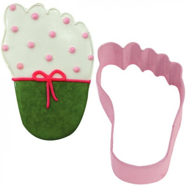 Pink baby foot cookie cutter