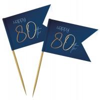 80. Geburtstag Party Picker 36 Stück Elegant blue