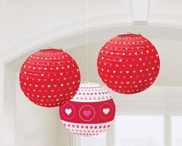 3 faroles de San Valentín Sweet love 24cm