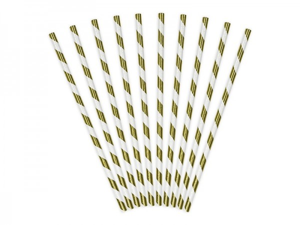 10 Paper Straws Stripey White-Gold 19.5cm