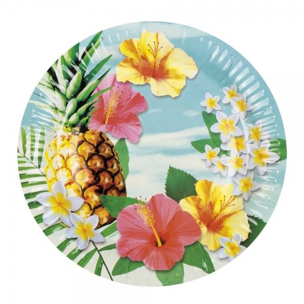 6 assiettes de fête Hawaii 23 cm