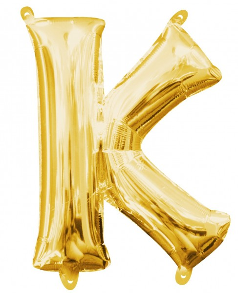 Mini foil balloon letter K gold 35cm