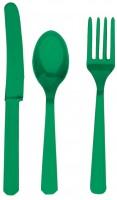 24-tlg. Party Buffet Besteck Set Smaragdgrün