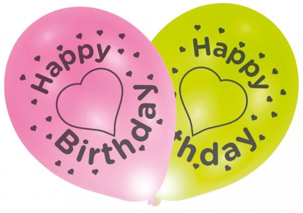 4 ballons LED joyeux anniversaire avec coeurs