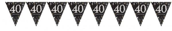 Chaîne de fanion dorée 40e anniversaire 4m