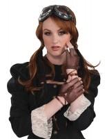 Gants en maille steampunk marron sans doigts