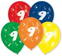 10er Set bunte Zahl 9 Luftballons
