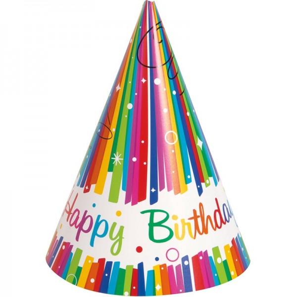 8 gorros de fiesta Rainbow Swirl Happy Birthday 15cm