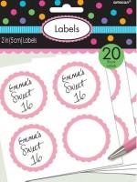 20 self-adhesive labels with a light pink flower border