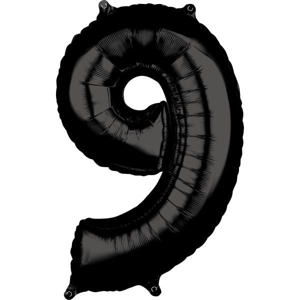 Schwarze Zahl 9 Ballon 66cm