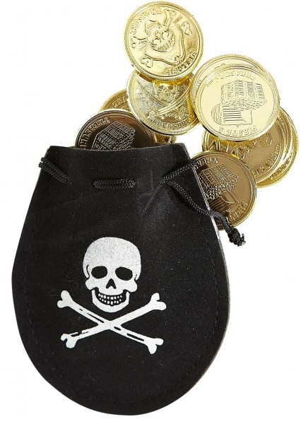 Totenkopf Piratenbeutel Mit 12 Dublonen