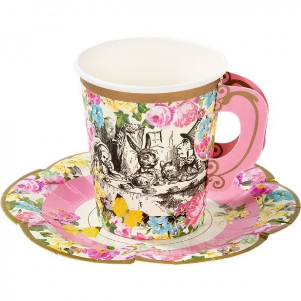 12 Wunderland tea party paper cups with coasters