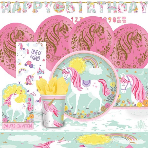 Set de fiesta unicornio fantasía 60 piezas