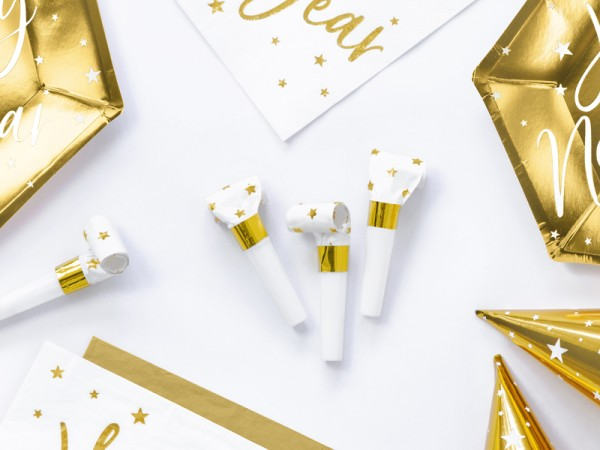 6 VIP Party Blowers White & Gold