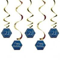 21. Geburtstag Marineblaue Hängedeko Set 5 Stück