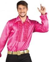 Shiny Rüschenhemd pink