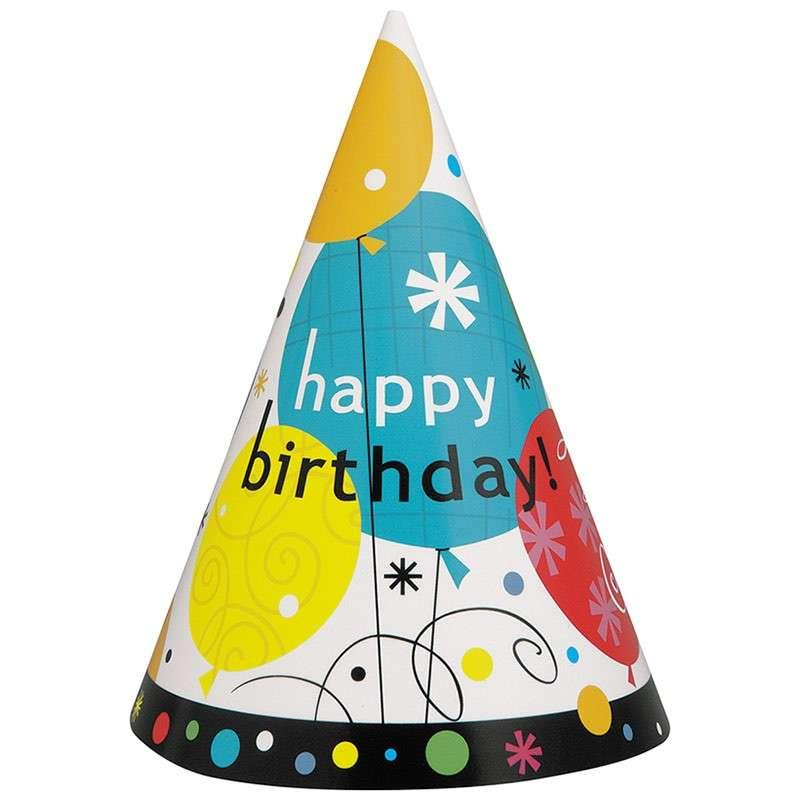 8 Breezy Birthday Partyhute 15cm