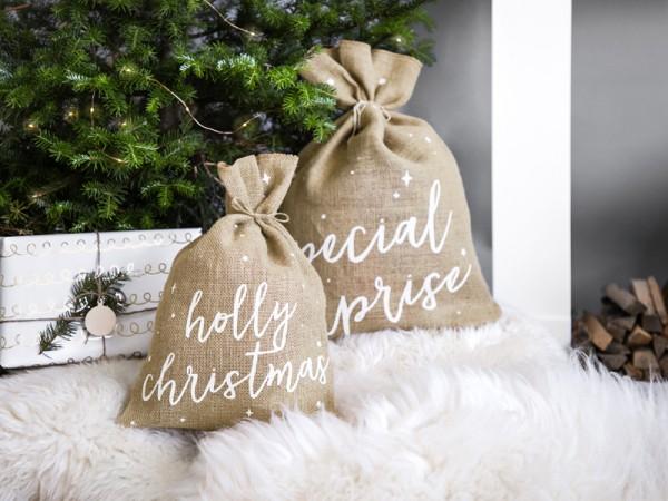 Holly Christmas Jute Sack 30 x 42cm