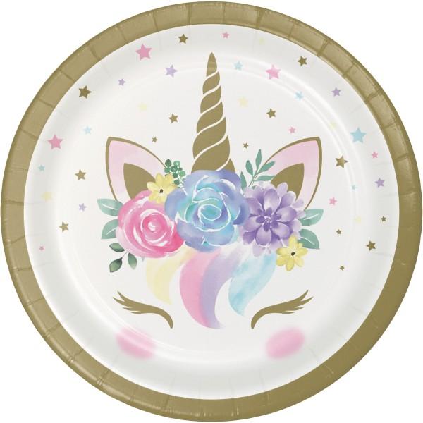 8 Princess Unicorn Pappteller 18cm