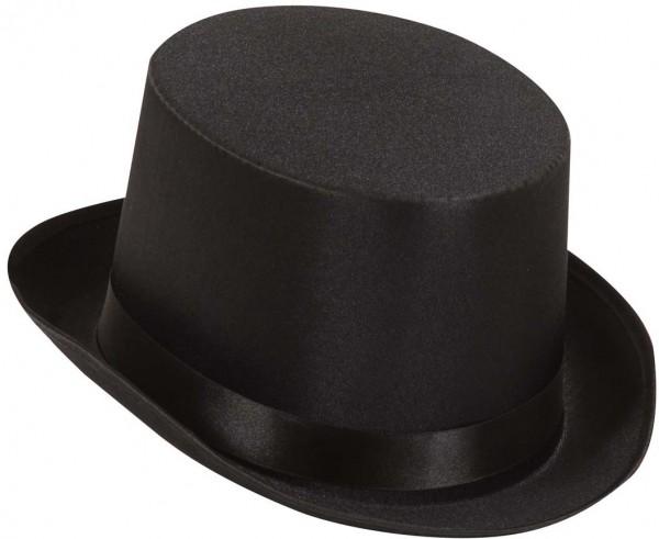Black cylinder hat made of satin
