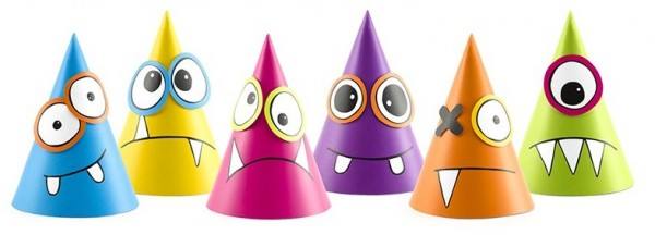 6 DIY monster party hats 16cm
