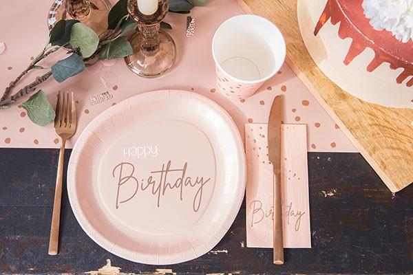10 Happy Birthday Servietten Elegant blush roségold 3